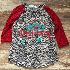 Southern grace girls top with lace sleeves